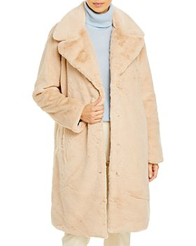 AQUA - Faux-Fur Coat With Wide Lapels - 100% Exclusive