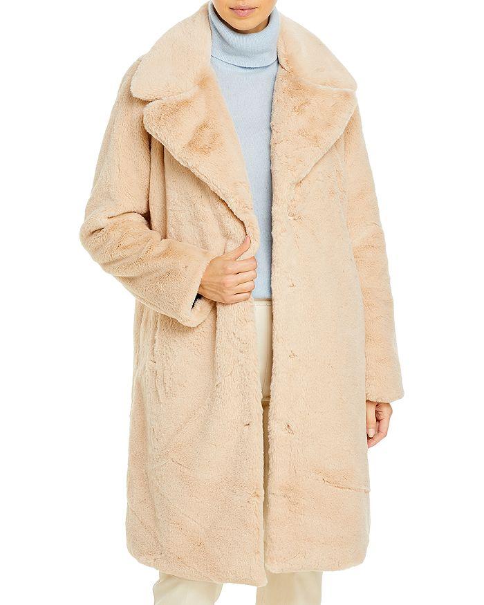 AQUA - Faux-Fur Coat With Wide Lapels- 100% Exclusive