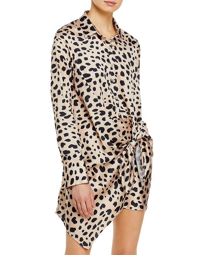 AQUA - Tie-Front Long Sleeve Dress - 100% Exclusive