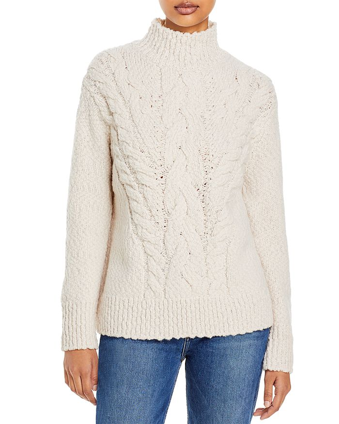 Vince - Rising Cable Wool Blend Turtleneck Sweater