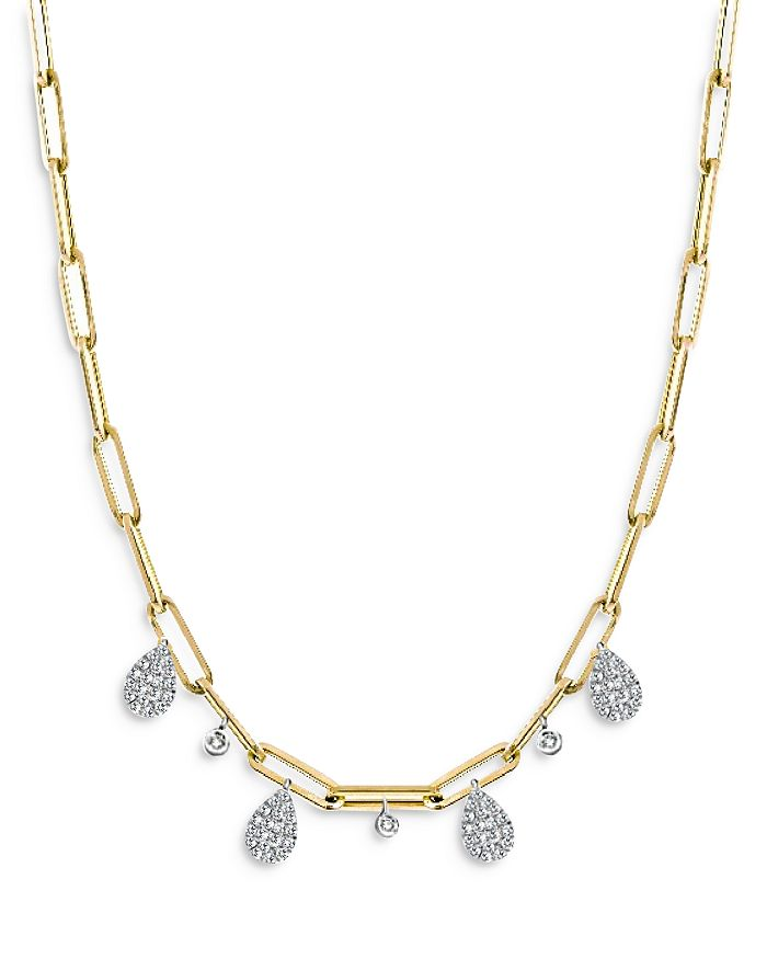 """Meira T - 14K Yellow Gold Rectangular Link Necklace with Diamonds, 16"""""""