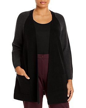 Eileen Fisher Plus - Two Tone Merino Wool Raglan Cardigan
