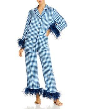 Sleeper - Gingham Feather-Trim Pajama Set - 100% Exclusive
