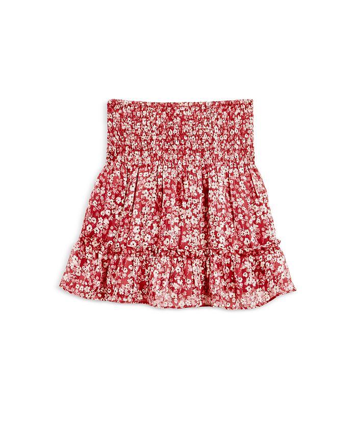 AQUA - Girls' Metallic Floral Smocked Flounce Skirt, Big Kid - 100% Exclusive