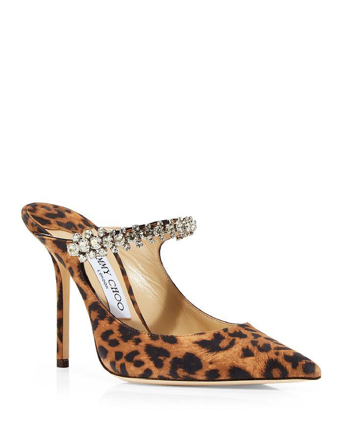 Jimmy Choo - Women's Bing 100 Embellished Leopard Print High Heel Mules