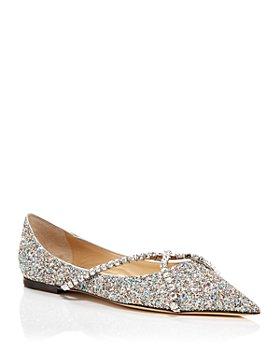 Jimmy Choo - Women's Genevi Pointed Toe Crystal Embellished Flats