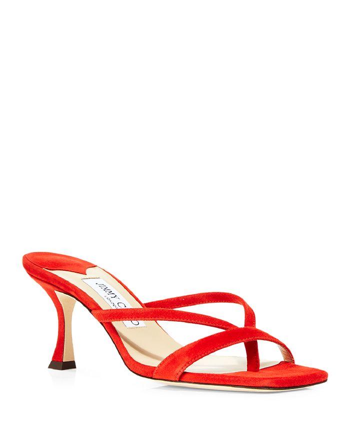 Jimmy Choo - Women's Maelie 70 Mid Heel Square Toe Thong Sandals
