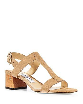 Jimmy Choo - Women's Jin 45 Mid Heel Square Toe Buckled Sandals