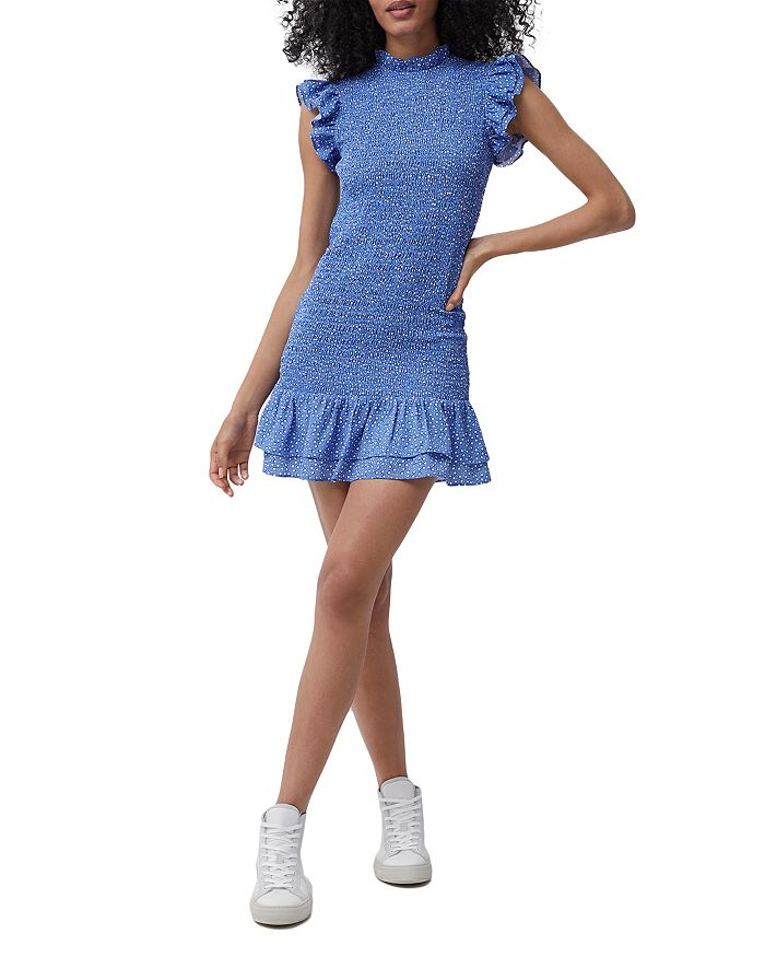 FRENCH CONNECTION Mini dresses VERONA FLORAL PRINT CREPE SMOCKED MINI DRESS