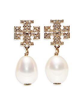Tory Burch - Kira Pavé Cultured Pearl Drop Earrings