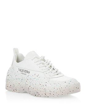 Valentino Garavani - Women's Paint Splatter Lace Up Low Top Sneakers