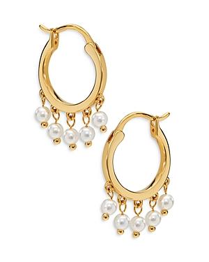 Nadri Synthetic Pearl Hoop Earrings