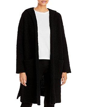 Eileen Fisher - Plush Wool Blend Hooded Long Cardigan
