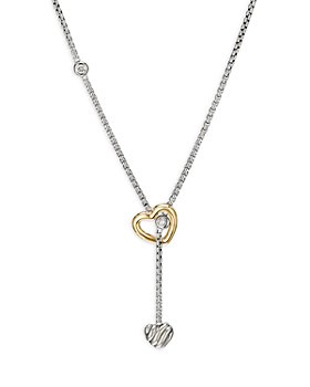 David Yurman - Sterling Silver & 18K Yellow Gold Cable Collectibles® Heart Y Necklace with Diamonds, 21""