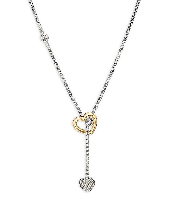 """David Yurman - Sterling Silver & 18K Yellow Gold Cable Collectibles® Heart Y Necklace with Diamonds, 21"""""""