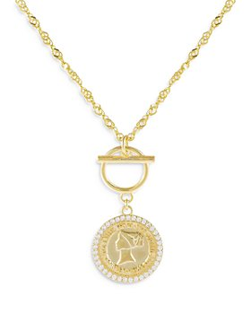 """Adinas Jewels - Toggle Detail Coin Pendant Necklace, 16"""""""