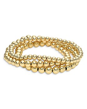 Zoe Lev - 14K Yellow Gold Bead Bracelet Stack, Set of 3
