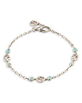 Gucci - 18K White Gold Opal Interlocking G Chain Bracelet