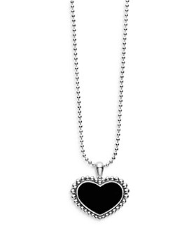 """LAGOS - Sterling Silver Maya Onyx Inlay Heart Pendant Necklace, 34"""""""