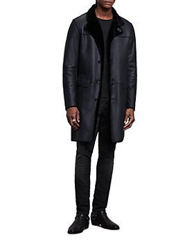 John Varvatos Collection - Asymmetrical Button Front Regular Fit Shearling Coat
