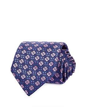 Canali - Floral Grid Silk Classic Tie