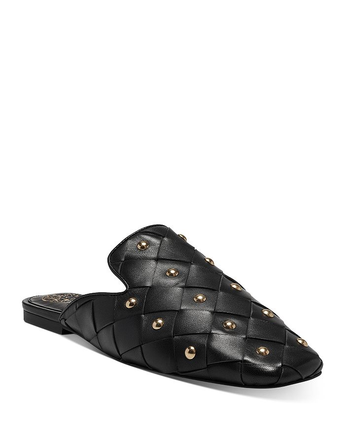 Vince Camuto Mules WOMEN'S LENJA STUDDED WOVEN LEATHER MULES