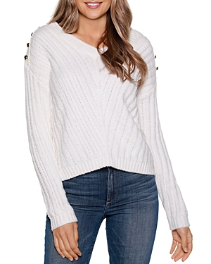Ribbed Button-Shoulder Sweater