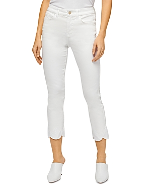 by 7 for All Mankind Straight Leg Scallop Hem Ankle Jeans in White