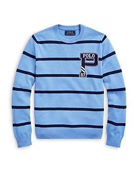 Ralph Lauren - Boys' Striped Crewneck Letter Sweater - Little Kid, Big Kid
