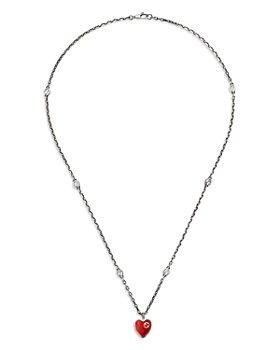 "Gucci - Sterling Silver & Enamel Heart Pendant Necklace, 19.7"""