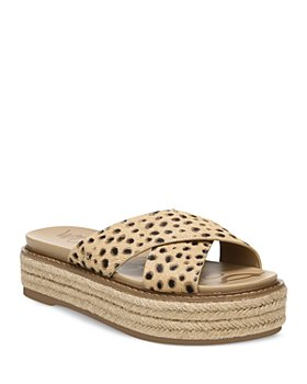 Sam Edelman - Women's Korina Printed Calf Hair Crossover Espadrille Platform Sandals
