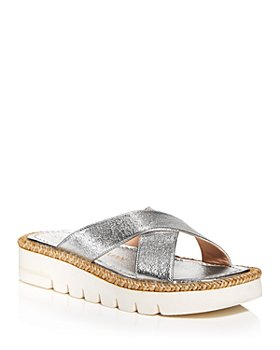 Stuart Weitzman - Women's Roza Square Toe Crossover Espadrille Lift Slide Sandals