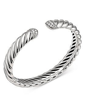 David Yurman - Sterling Silver & Diamond Sculpted Cable Cuff Bracelet