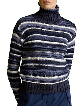 Ralph Lauren - Striped Buttoned Placket Turtleneck Sweater