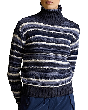Ralph Lauren POLO RALPH LAUREN STRIPED BUTTONED PLACKET TURTLENECK SWEATER