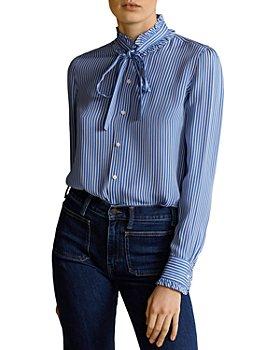 Ralph Lauren - Ruffled Striped Silk Blouse