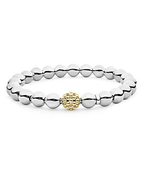 LAGOS - Sterling Silver & 18K Yellow Gold Signature Caviar Stretch Bracelet