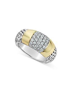 LAGOS - Sterling Silver & 18K Gold High Bar Diamond Ring - 100% Exclusive