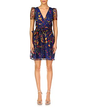 ML Monique Lhuillier - Embroidered Mesh Puff Sleeve Cocktail Dress