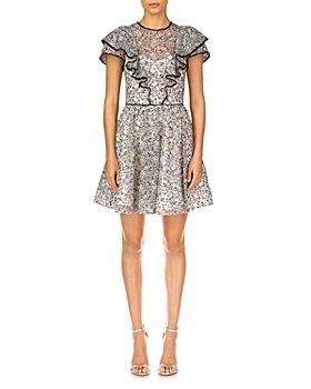 ML Monique Lhuillier - Flutter Sleeve Mini Dress