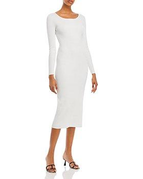 Lucy Paris - Long Sleeve Rib Knit Midi Dress