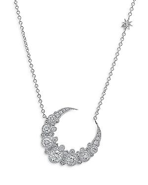 18K White Gold Galaxia Diamond Crescent Moon Pendant Necklace