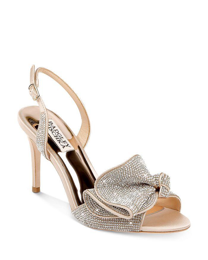 Badgley Mischka - Women's Rennie Almond Toe Rhinestone Ruffle Satin High Heel Sandals