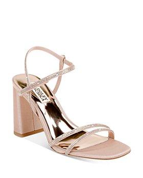 Badgley Mischka - Women's Rebekah Square Toe Crystal Embellished Block Heel Sandals