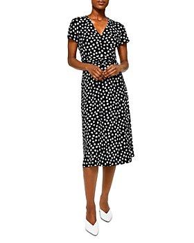 Leota - Amiya Polka Dot Crossover Midi Dress