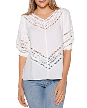 Lace Inset Puff Sleeve Top