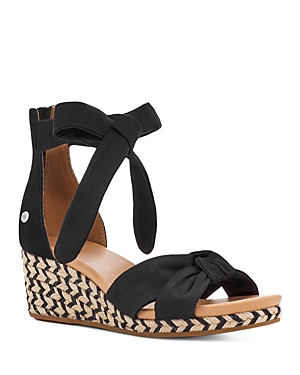 Ugg Wedges WOMEN'S YARROW BLACK KNOTTED STRAP ESPADRILLE WEDGE SANDALS