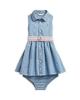 Ralph Lauren - Girls' Chambray Sleeveless Shirt Dress, Belt & Bloomers Set - Baby
