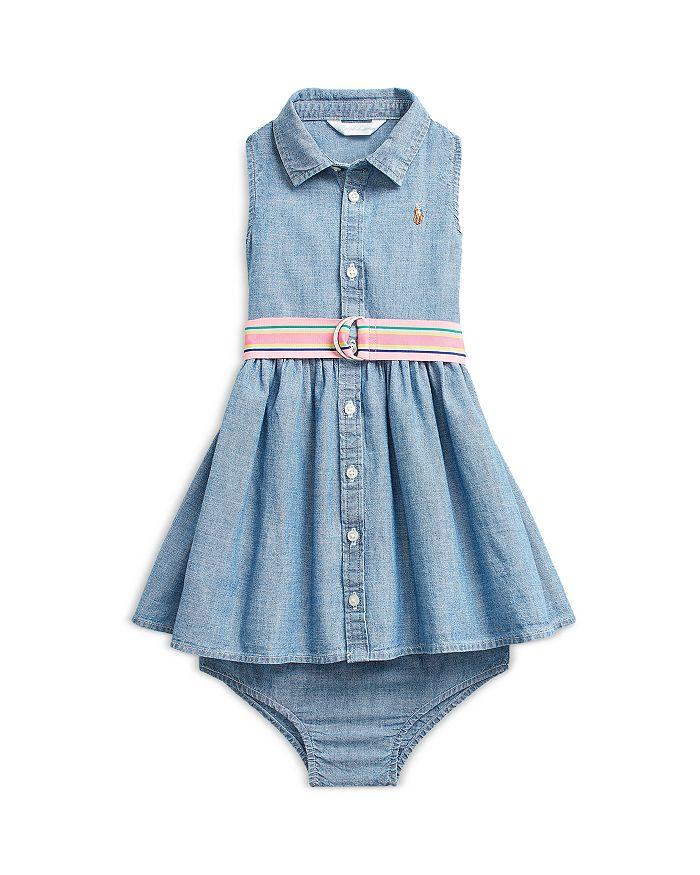 Ralph Lauren POLO RALPH LAUREN GIRLS' CHAMBRAY SLEEVELESS SHIRT DRESS, BELT & BLOOMERS SET - BABY
