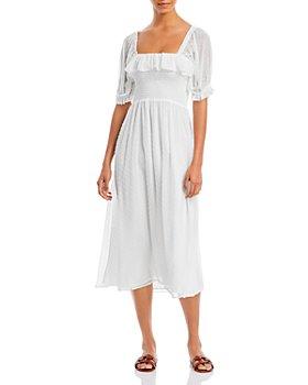 WAYF - Smocked Square Neck Midi Dress